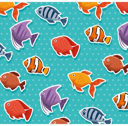 かわいい観賞魚のパターン背景ベクトルイラストデザイン  イラスト・ベクター素材