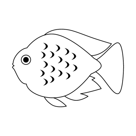 cute ornamental fish icon vector illustration design