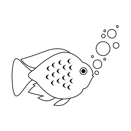 cute ornamental fish with air bubbles vector illustration design