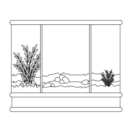 vierkant aquarium zonder vissen pictogram vector illustratie ontwerp