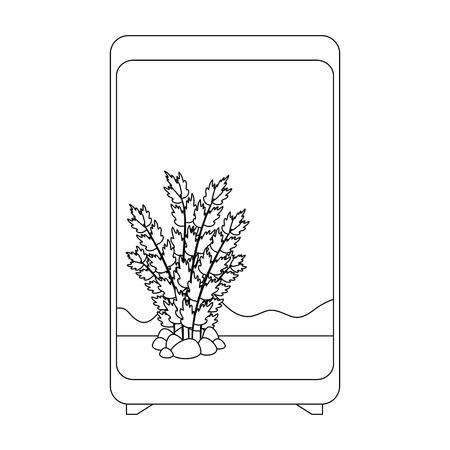 A rectangular aquarium without fish icon. Иллюстрация