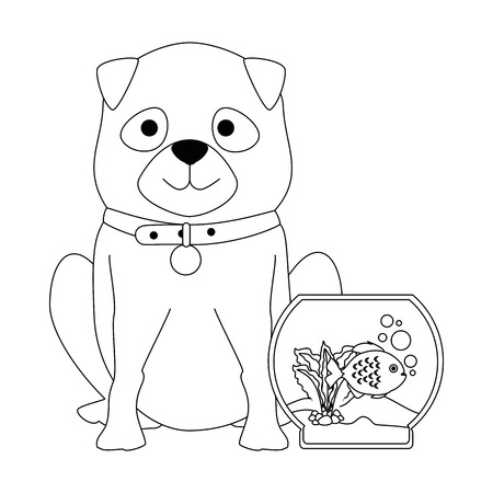 An aquarium bowl with colors fish and dog.