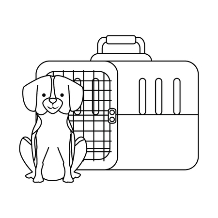dog with box transport mascot vector illustration design