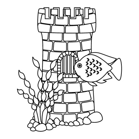 castle tower aquarium with seaweed and color fish vector illustration design Ilustração