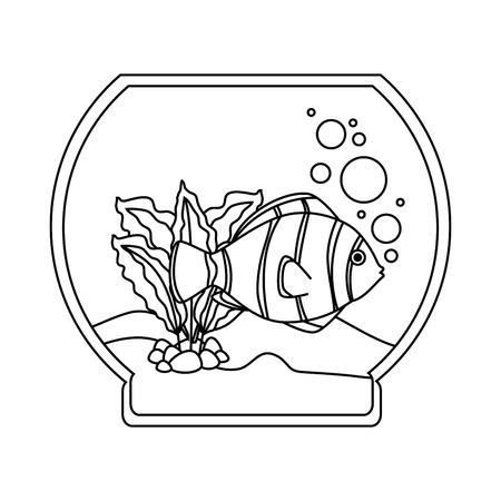 Aquarium bowl with outline fish vector illustration design