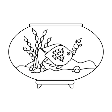 Aquarium bowl with outline fish vector illustration design. Illustration