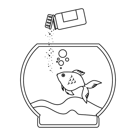 Aquarium bowl with outline fish and bottle food vector illustration design. Illustration