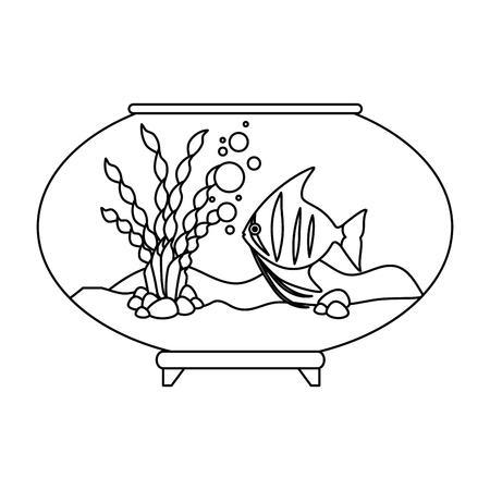 Aquarium bowl with colors fish vector illustration design