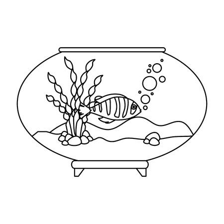 Aquarium bowl with linear fish vector illustration design. Stock Illustratie