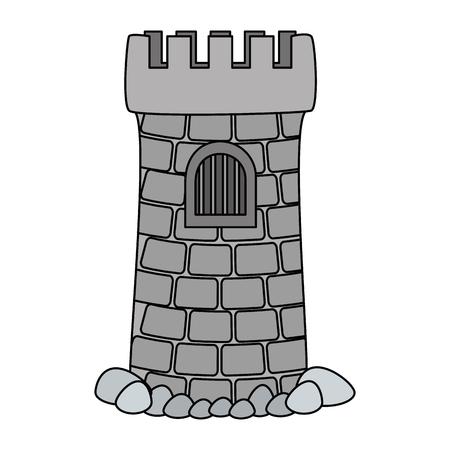 castle tower aquarium decoration vector illustration design  イラスト・ベクター素材