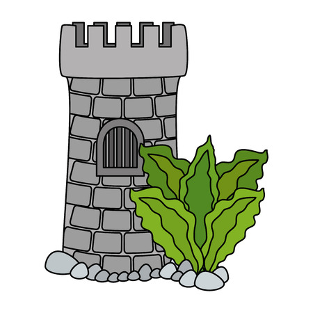 castle tower aquarium with seaweed decoration vector illustration design