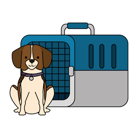 A dog with transport cage vector illustration design