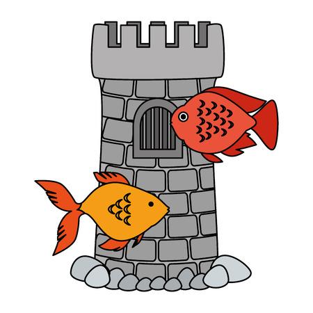 Small tower aquarium design with fish vector illustration