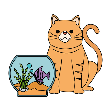 An aquarium bowl with colored fish and cat vector illustration design
