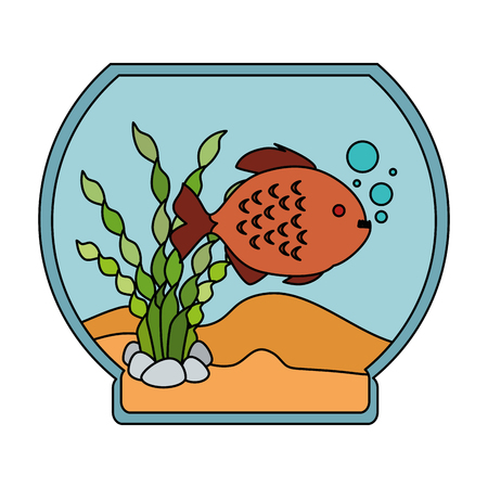An aquarium bowl with colored fish vector illustration design Illusztráció