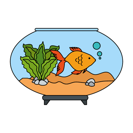 Aquarium bowl with colored fish vector illustration design Illustration
