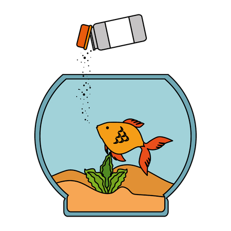 Aquarium bowl with colors fish and bottle food vector illustration design
