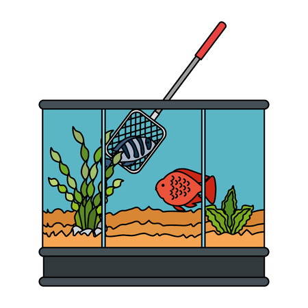 Square aquarium with colors fish and fishing net vector illustration design Foto de archivo - 99890731