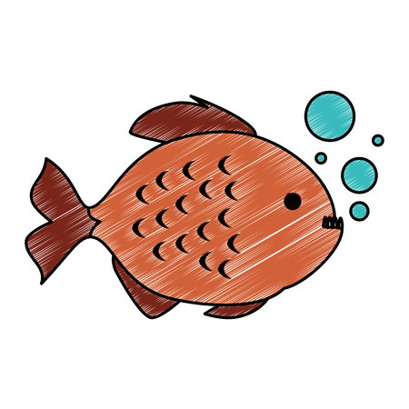 Cute ornamental fish with air bubbles vector illustration design Illustration