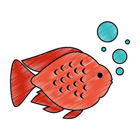 Cute ornamental fish with air bubbles vector illustration design Ilustrace
