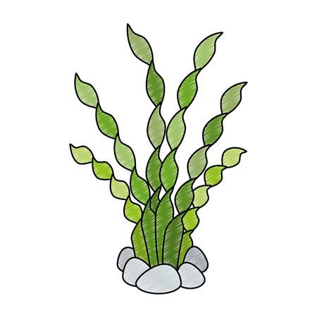 Aquarium decorative seaweed icon vector illustration design Ilustrace