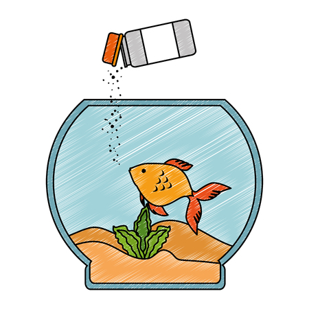 aquarium bowl with colors fish and bottle food vector illustration design