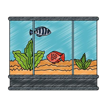 square aquarium with colors fish vector illustration design Ilustracja