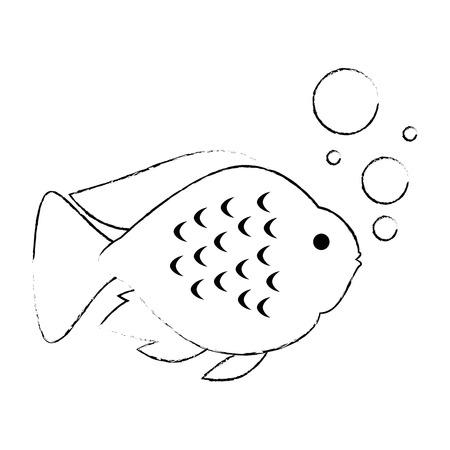 気泡ベクターイラストデザインとかわいい観賞魚  イラスト・ベクター素材