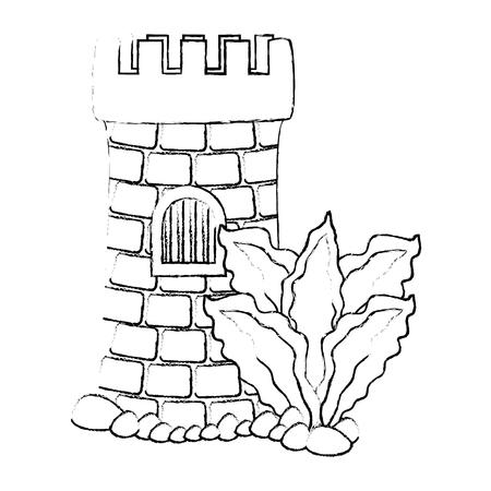 A castle tower aquarium with seaweed decoration vector illustration design