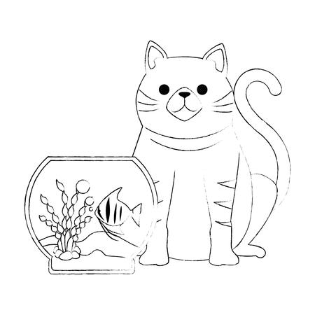 aquarium bowl with colors fish and cat design.