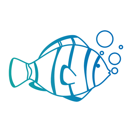 Cute ornamental fish with air bubbles vector illustration design.