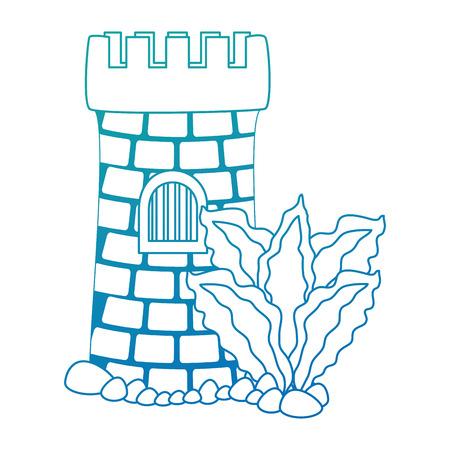 Castle tower aquarium with seaweed decoration vector illustration design. Illustration