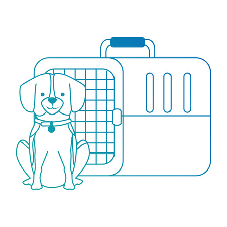 Dog with box transport mascot vector illustration design.