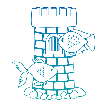 Castle tower aquarium with seaweed and color fish vector illustration design.