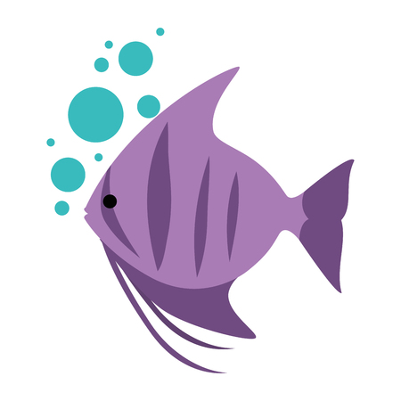 cute ornamental fish with air bubbles vector illustration design