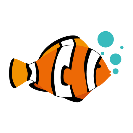 Cute ornamental fish with air bubbles vector illustration design.