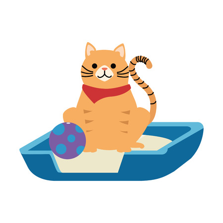 Cute cat mascot in the bed with ball character vector illustration design.