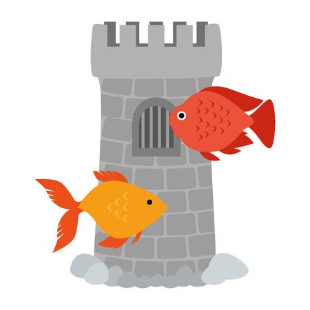 Tower aquarium with color fish vector illustration design.