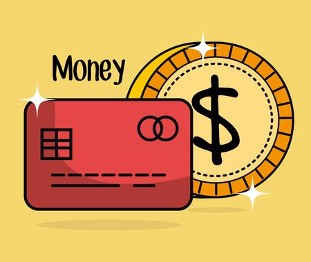 save money coin and credit card vector illustration design Çizim