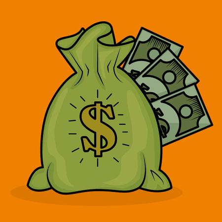 Save money bag with bills vector illustration design Illustration