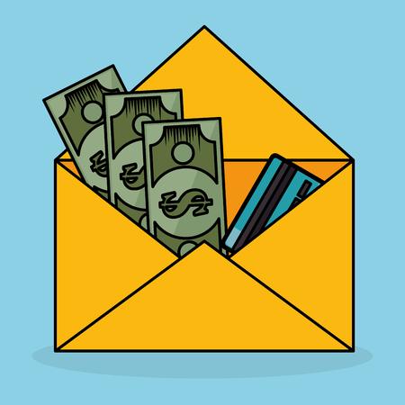 Save money bill in envelope vector illustration design