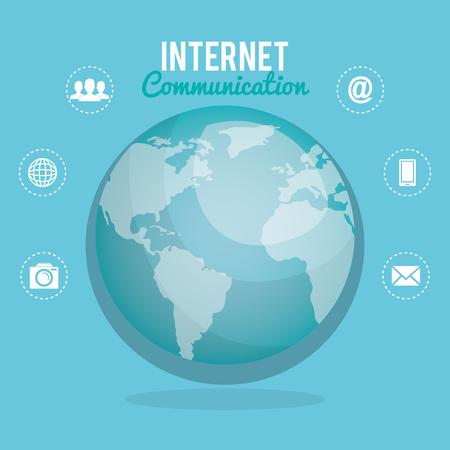world planet with internet communication vector illustration design