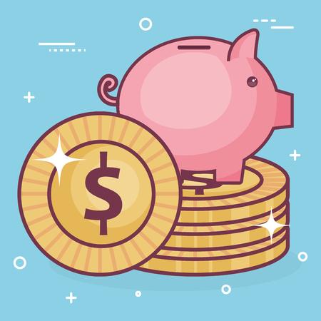 A piggy bank with coins vector illustration design