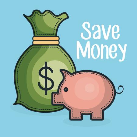 piggy save money with bag vector illustration design