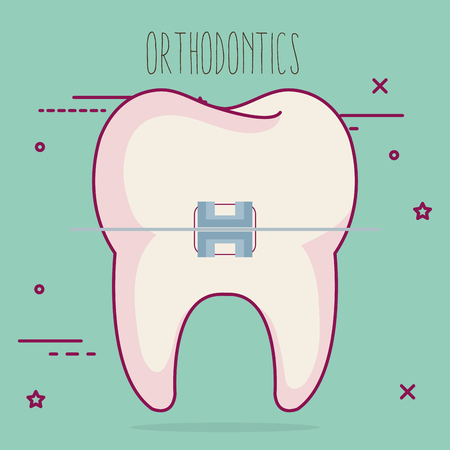 tooth with orthodontics dental care icon vector illustration design