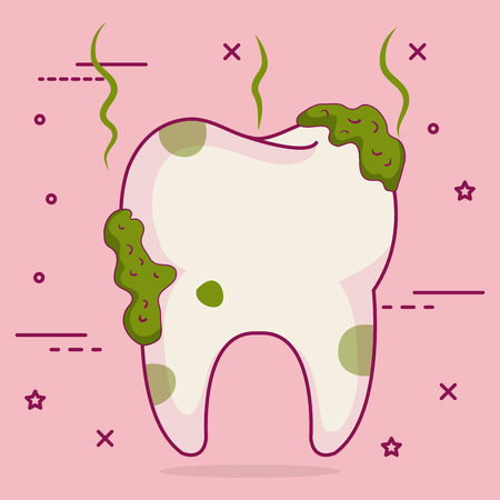 tooth dirty dental care icon vector illustration design
