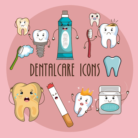 dental care characters vector illustration design Illusztráció