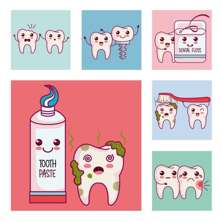 Soins dentaires icônes définies illustration vectorielle conception Banque d'images - 100031177