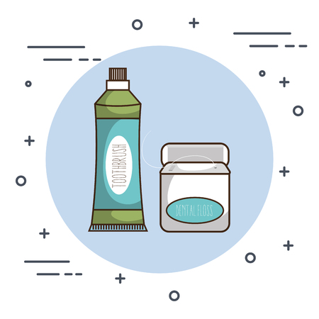 dental care paste and floss vector illustration design