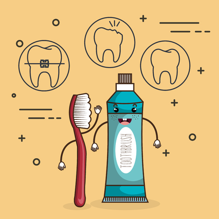 dental care comic character vector illustration design